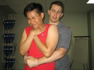 J-Thrusts for choking victim